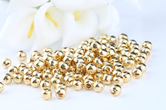 GOLD plated 2mm round seamed smooth spacer beads 100 pcs FPB176A