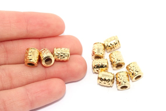 Beads Connector Beads 2x6mm 24k Shiny Gold Spacer Beads Gold Spacers Gold Plated Findings Rondelle Beads MTE181 Bracelet Beads