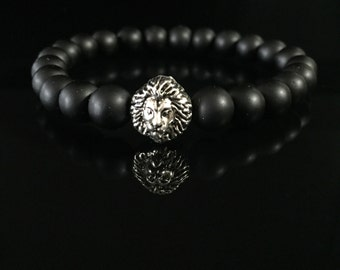 Black Mens Bracelet, Silver Plated Lion Beads Bracelet, Gemstone Bracelet, 8mm Onyx Bracelet