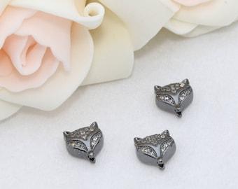Gunmetal Zirconia Leopard Beads, Cat Beads, Cubic Zirconia Leopard , Leopard Head Bads, Bracelet Connectors , Cz Pave Leopard, SKU/ZRC128