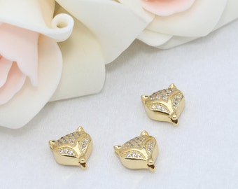 Gold Plated Leopard Zirconia Beads, Cat Beads, Cubic Zirconia Leopard , Leopard Head Bads, Bracelet Connectors , Cz Pave Leopard,SKU/ZRC129