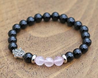 Hamsa bracelet homme Moss agate stretch bracelet Black onyx stone yoga jewelry Green aventurine beaded Black stone Hamsa protection bracelet