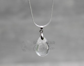 Crystal Quartz Teardrop Pendant With Silver Plated Chain