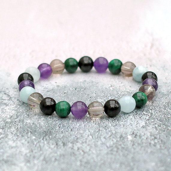Iolite Safe Travels Smoky Quartz Labradorite Pyrite Mala Yoga Bracelet Journeys Bracelet