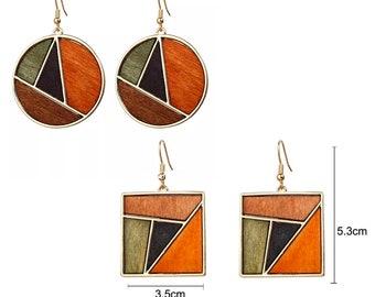 Boucles d'oreilles Bois peint acier or BALI   pendant bois brut noir orange vert   Joli bijou cadeau ado fille   Boho ethnique naturel