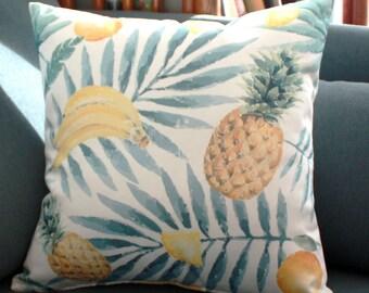 Housse de coussin Palmiers Ananas et fruits ~ satin blanc| NEW home decor / Décoration d'intérieur | Salon & Chambre |  Design Tropical