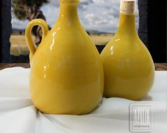 Yellow oil bottle, pottery design, ceramic oil dispenser, foodie dish, oil and vinegar ceramic bottle, yellow ceramic, yellow pottery