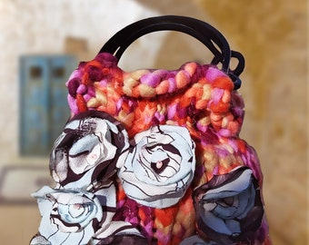 Wool bag with fabric flowers inspired by Puglia flowers, woman sack bag, large wool bag