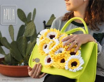 Pannolenci bag inspired by Puglia flowers, Tote bag, felt bag, Large Shopper, Merino Wool Felt, Shoulder bag, Laptop bag, Woodberry bag
