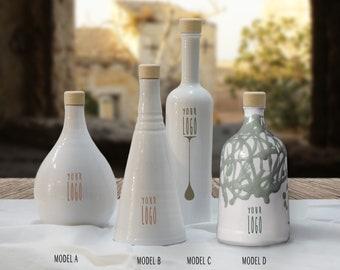 White oil bottle, pottery design, ceramic oil dispenser, foodie dish, oil and vinegar ceramic bottle, white ceramic, white pottery