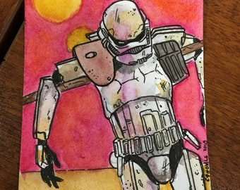 Job Hazards - 2.5 x 3.5 Original Ink and Watercolor Stormtrooper Artist Trading Card
