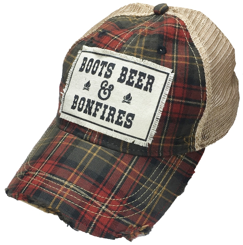 Women s Trucker Hat Plaid Baseball Cap Boots Beer    bedfdb128