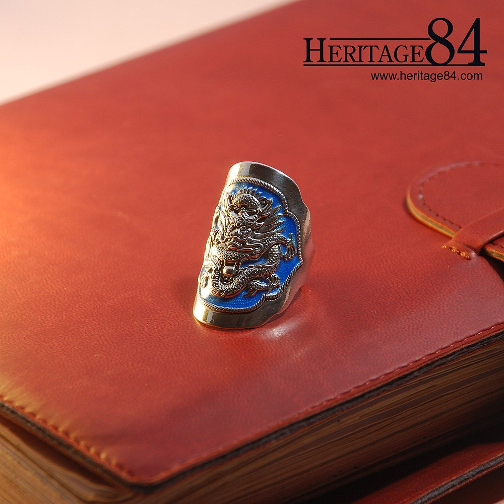 Dragon Ring Oriental Retro Fine Silver Ring For Man Long Etsy