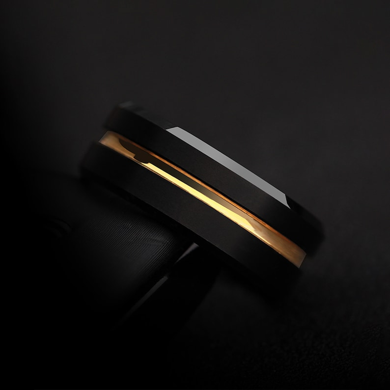 Black ring for index finger and middle finger mens band ring gold stripe ring rings for men Tungsten ring fashionable ring black ring