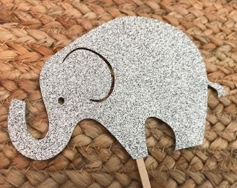 Elephant Cake Topper, Glitter Elephant Cake Topper, Baby Shower Decor, Elephant Birthday