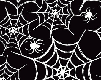 PolyCotton Fabric Halloween Insects Spiders Web White METRE Material NEW