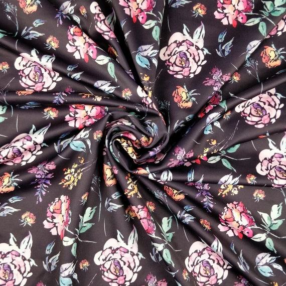 FS038 Floral Flower Light Weight Print High quality Woven Chiffon fabric Black