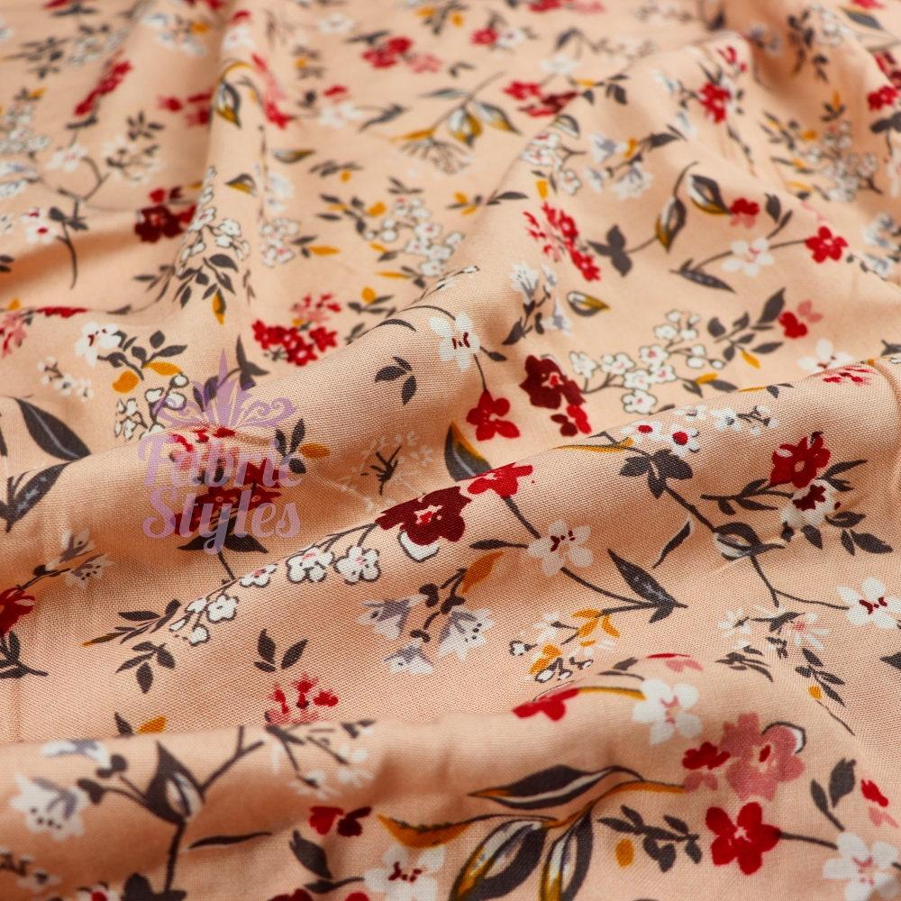 fs773 erröten floral blätter dünne viskose rayon kleid
