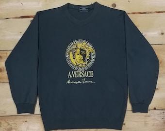 1858f87704cd Vintage 90 s Luxury Designer Alfredo Versace A.Versace Medusa Embroidery  Olive Green Sweatshirt   Versace Jeans Couture