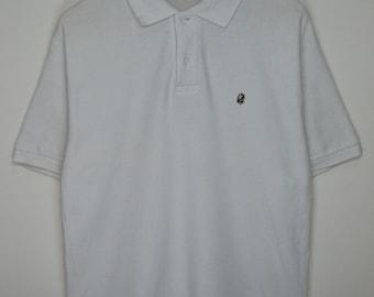 0b6cad90 Early 2000s A Bathing Ape Classics Camo Bape Head Logo Polo White Large  Shirt