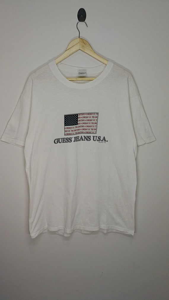 Guess Usa Sale >> Sale Vintage 90 S Guess Jeans Usa Made In Usa American Flag White Medium T Shirt