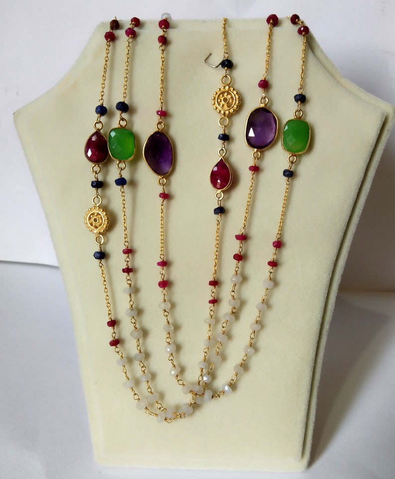 Glassfield ruby chain with  silver beads 15 gm approx  gemstone jewellry GJ0446
