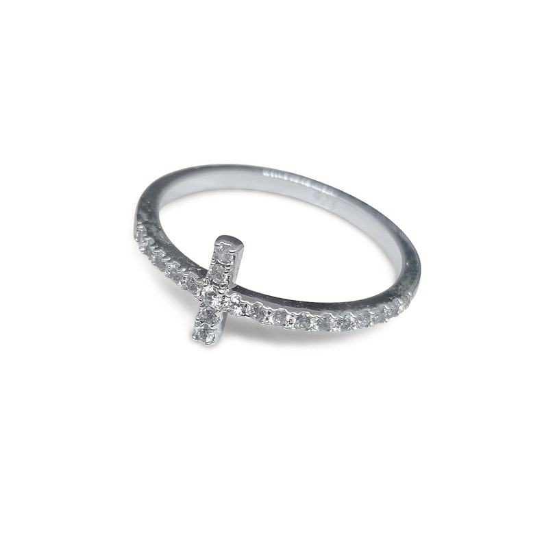 66015c8b1 Sideway Cross Ring Made of 925 Sterling Silver with AAA CZ   Etsy