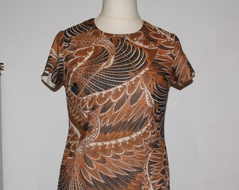 Vintage 1970's Brown Black & White Traditional Feather Pattern Shift Dress (Size 12(UK))