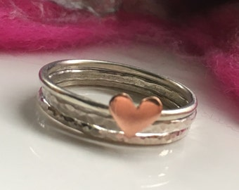 Sterling Silver Stacking Rings, Set of Three Rings, Stacking Rings Set, Set of 3 Rings, Delicate Rings, Copper Heart Ring, Mixed Metal Ring
