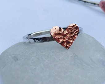 Heart Ring, Sterling Silver Ring, Copper Heart Ring, Stacking Ring, Cute Heart Ring, Copper and Silver Ring
