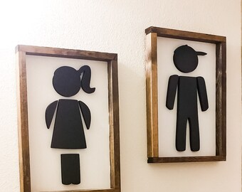 Boy Bathroom Sign Girl His And Her Wood Signs 3D Kids Cutouts Framed