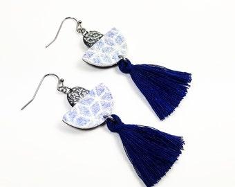 Japanese bohemian earrings geometry effect velvet blue pompoms
