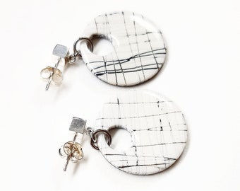 Contemporary graphic white earrings