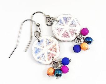 Pearl-blue pink rosé bohemian earrings