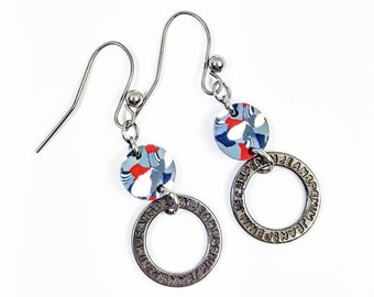 Contemporary graphic earrings red blue engraved metal ring