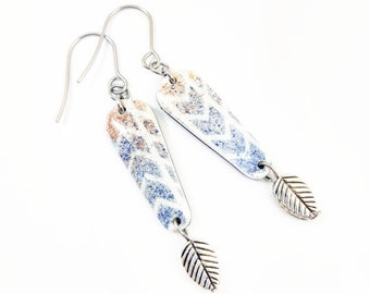 Bohemian earrings geometry effect velvet pastel colors