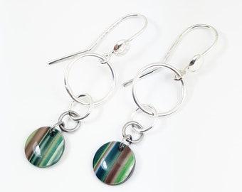 Green striped earrings rings silver