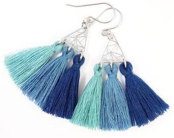 Earrings boho chic blue pom poms origami