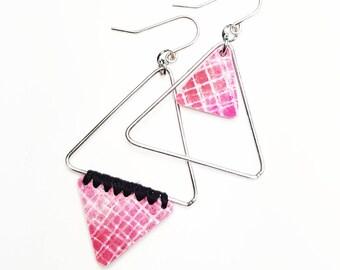 Pink asymmetrical earrings