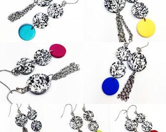 Contrasting asymmetrical fancy earrings