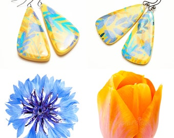 Blue yellow country earrings