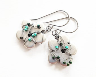 Spring flowers, metal and pearls shades of green