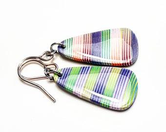Pink purple green striped spring earrings
