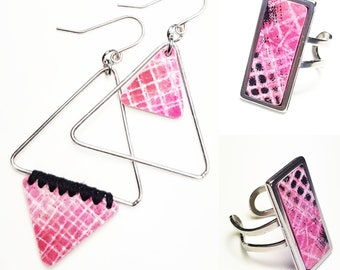 Fancy look asymmetrical earrings and matching ring