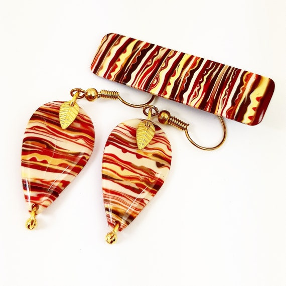 Red and yellow earrings and matching Barrette