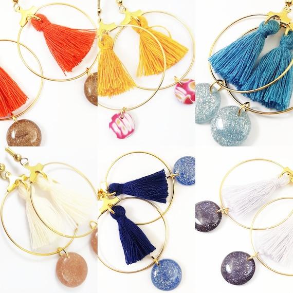 Earrings or sequin pom poms