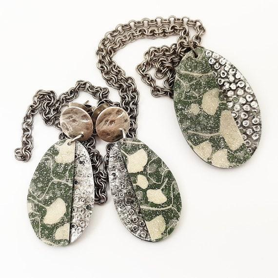 UNIQUE ginkgo green khaki aged metal adornment