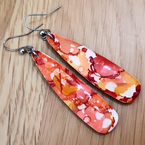 Colorful orange orange earrings