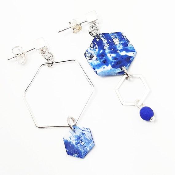 King blue hexagon earrings