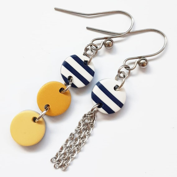 Marine earrings, sailor, navy striped navy white red yellow